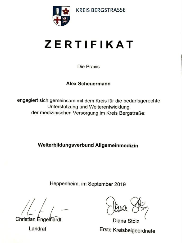 Zertifikat Weiterbildungsverbund Allgemeinmedizin